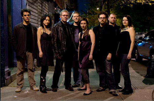 Newspeak is (L-R) Taylor Levine, electric guitar; Yuri Yamashita, percussion; Caleb Burhans, violin, voice; Brian Snow, cello, bass; Mellissa Hughes, voice, electronics; David T. Little, director, drums; James Johnston, synthesizer; Eileen Mack, co-director, clarinets. Photo: Stephen Taylor