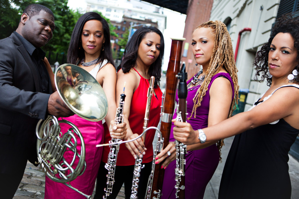 The Imani Winds: Jeff Scott, Toyin Spellman-Diaz, Valerie Coleman, Monica Ellis, and Mariam Adam.
